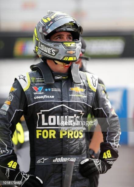 Jimmie Johnson driver of the Lowe's for Pros Chevrolet stands by his car during practice for the Monster Energy NASCAR Cup Series Bass Pro Shops NRA...