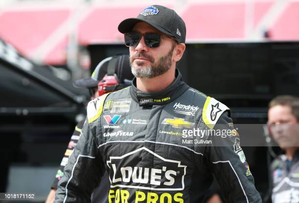 Jimmie Johnson driver of the Lowe's for Pros Chevrolet walks to his car during practice for the Monster Energy NASCAR Cup Series Bass Pro Shops NRA...