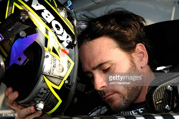 Jimmie Johnson driver of the Lowe's / Kobalt Chevrolet sits in his car during qualifying for the NASCAR Sprint AllStar Race on May 15 2009 at Lowe's...