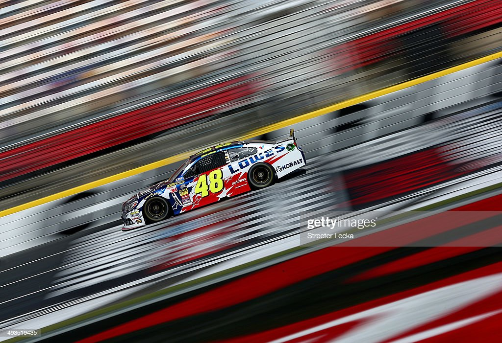 Jimmie Johnson, driver of the #48 Lowe's Patriotic Chevrolet, practices for the NASCAR Sprint Cup Series Coca-Cola 600 at Charlotte Motor Speedway on May 24, 2014 in Charlotte, North Carolina.