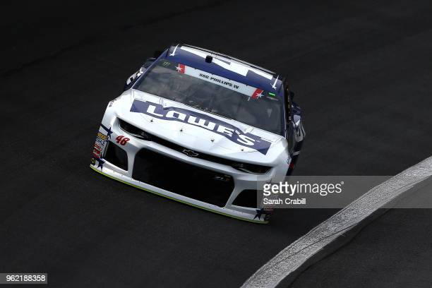 Jimmie Johnson driver of the Lowe's Patriotic Chevrolet practices for the Monster Energy NASCAR Cup Series CocaCola 600 at Charlotte Motor Speedway...