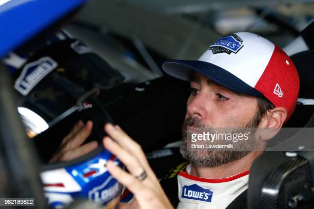 Jimmie Johnson driver of the Lowe's Patriotic Chevrolet sits in his car during practice for the Monster Energy NASCAR Cup Series CocaCola 600 at...