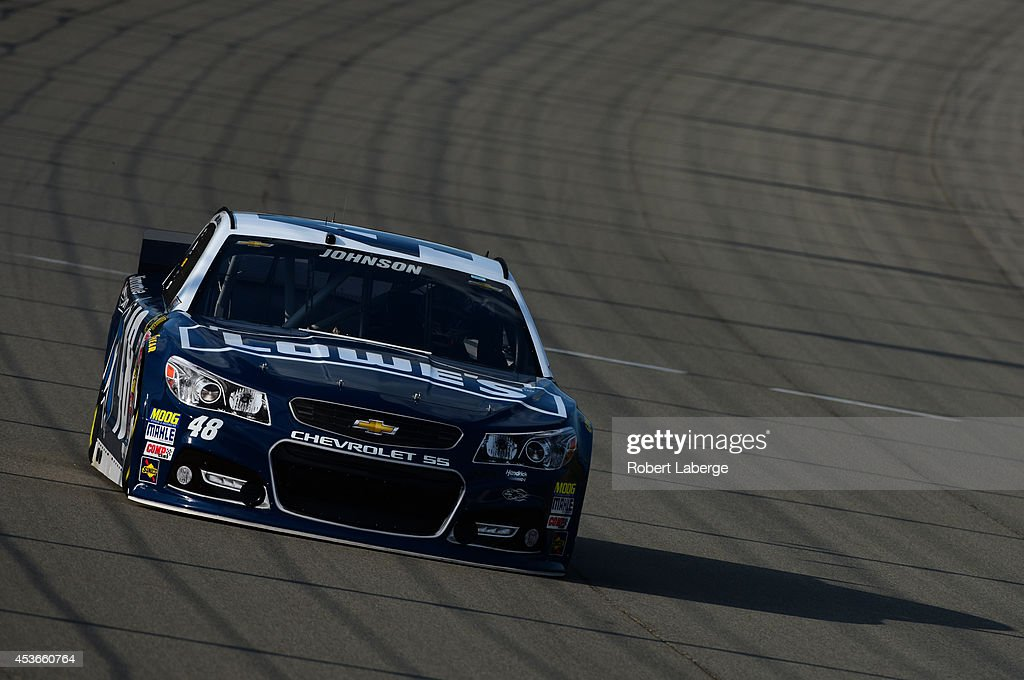 Jimmie Johnson, driver of the #48 Lowe's/Jimmie Johnson Foundation Chevrolet, during qualifying for the NASCAR Sprint Cup Series Pure Michigan 400 at Michigan International Speedway on August 15, 2014 in Brooklyn, Michigan.