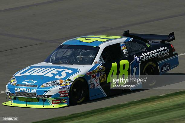 Jimmie Johnson driver of the Lowe's/Jimmie Johnson Foundation Chevrolet drives during practice for the NASCAR Sprint Cup Series Pepsi 500 at Auto...