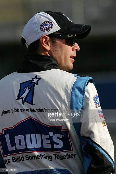 Jimmie Johnson driver of the Lowe's/Jimmie Johnson Foundation Chevrolet prepares to drive during qualifying for the NASCAR Sprint Cup Series Pepsi...