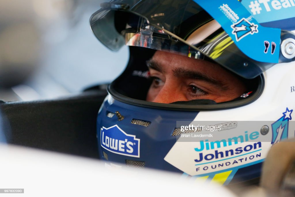 Jimmie Johnson, driver of the #48 Lowe's/Jimmie Johnson Foundation Chevrolet, sits in his car during practice for the Monster Energy NASCAR Cup Series Quaker State 400 presented by Walmart at Kentucky Speedway on July 13, 2018 in Sparta, Kentucky.
