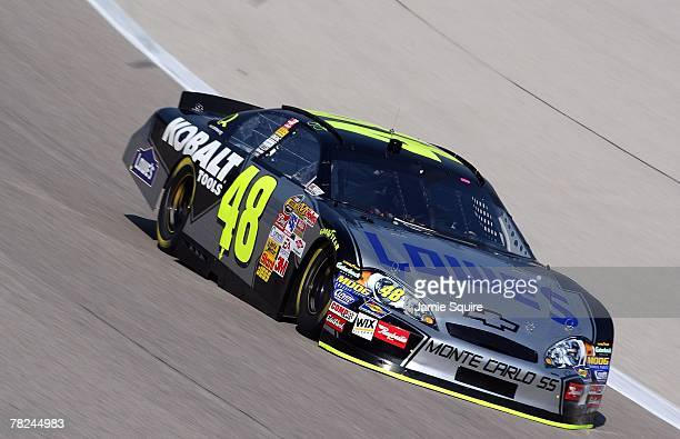 Jimmie Johnson driver of the Lowe's/Kobalt Chevrolet drives during practice for the NASCAR Nextel Cup Series Dickies 500 at Texas Motor Speedway on...