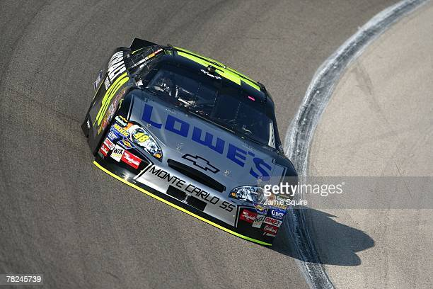 Jimmie Johnson driver of the Lowe's/Kobalt Chevrolet during practice for the NASCAR Nextel Cup Series Dickies 500 at Texas Motor Speedway on November...