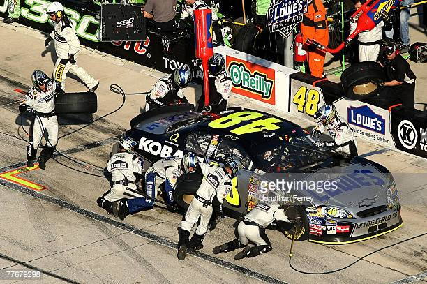 Jimmie Johnson driver of the Lowe's/Kobalt Chevrolet pits during the NASCAR Nextel Cup Series Dickies 500 at Texas Motor Speedway on November 4 2007...