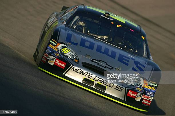 Jimmie Johnson driver of the Lowe's/Kobalt Chevrolet races during the NASCAR Nextel Cup Series Dickies 500 at Texas Motor Speedway on November 4 2007...