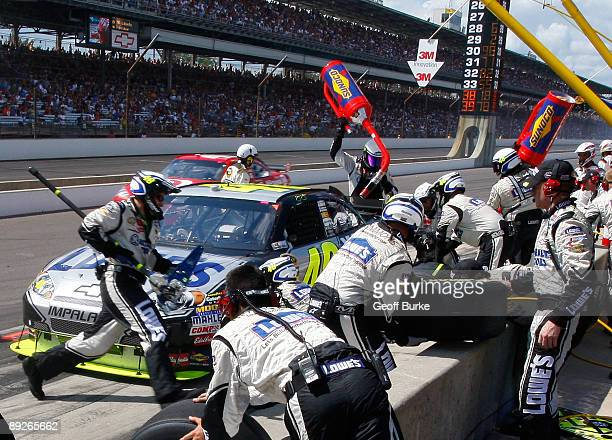 Jimmie Johnson driver of the Lowe's/Kobalt Tools Chevrolet pits during the NASCAR Sprint Cup Series Allstate 400 at the Brickyard at Indianapolis...