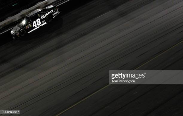 Jimmie Johnson driver of the Lowe's/Kobalt Tools Chevrolet races during the NASCAR Sprint Cup Series Bojangles' Southern 500 at Darlington Raceway on...