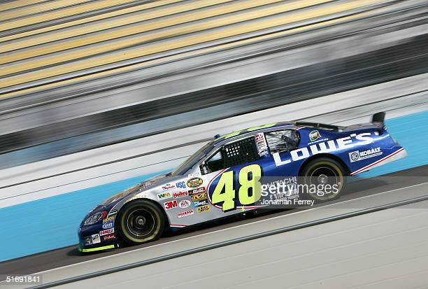 Jimmie Johnson drives his Lowe's Chevrolet during practice for the NASCAR Nextel Cup Checker Auto Parts 500 on November 6 2004 at the Phoenix...
