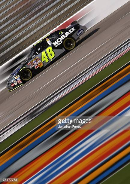 Jimmie Johnson drives his Lowe's/Kobalt Tools Chevrolet during practice for the NASCAR Nextel Cup Series Dickies 500 at Texas Motor Speedway on...