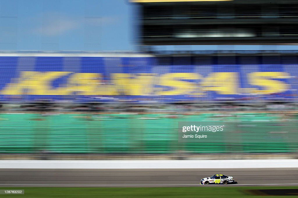 Jimmie Johnson drives the #48 Lowe's Chevrolet during practice for the NASCAR Sprint Cup Series Hollywood Casino 400 at Kansas Speedway on October 7, 2011 in Kansas City, Kansas.