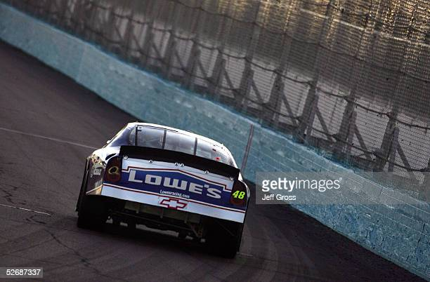 Jimmie Johnson drives the Lowe's Chevrolet during practice for the NASCAR Nextel Cup Series Subway Fresh 500 on April 21 2005 at Phoenix...