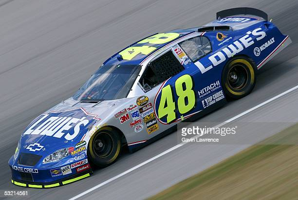 Jimmie Johnson drives the Lowe's Chevrolet during practice for the NASCAR Nextel Cup Series USG Sheetrock 400 on July 8 2005 at the Chicagoland...