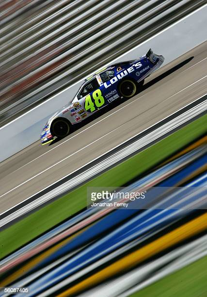 Jimmie Johnson drives the Lowe's Chevrolet during practice for the NASCAR Nextel Cup Series Dickies 500 on November 4 2005 at Texas Motor Speedway in...