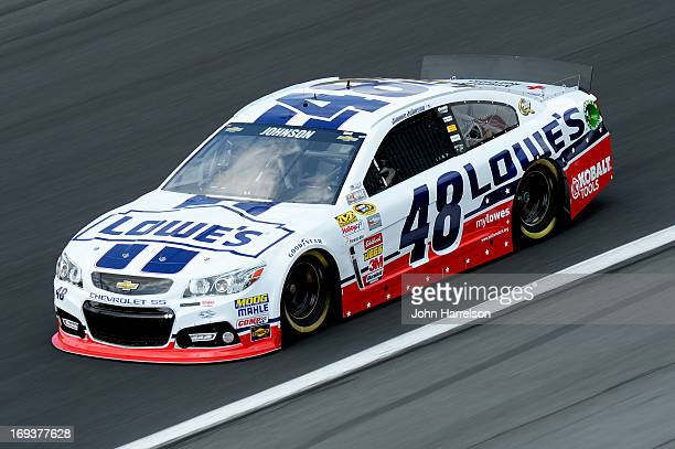 Jimmie Johnson drives the Lowe's Patriotic Chevrolet during practice for the NASCAR Sprint Cup Series CocaCola 600 at Charlotte Motor Speedway on May...