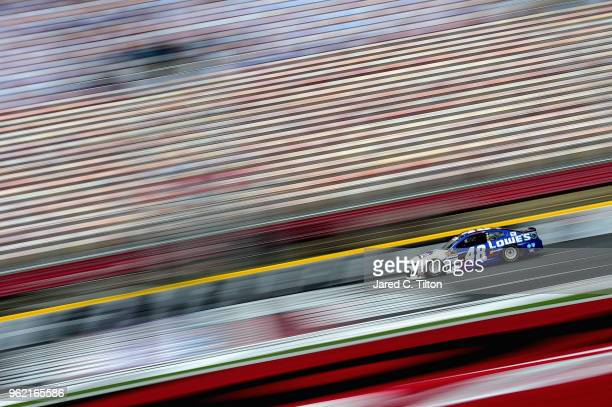 Jimmie Johnson drives the Lowe's Patriotic Chevrolet during practice for the Monster Energy NASCAR Cup Series CocaCola 600 at Charlotte Motor...