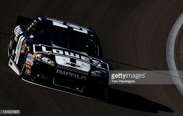 Jimmie Johnson drives the Lowe's/Kobalt Tools Chevrolet during practice for the NASCAR Sprint Cup Series Kobalt Tools 400 at Las Vegas Motor Speedway...