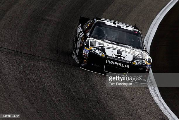 Jimmie Johnson drives the Lowe's/Kobalt Tools Chevrolet during practice for the NASCAR Sprint Cup Series Samsung Mobile 500 at Texas Motor Speedway...