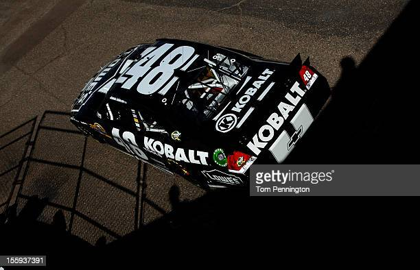 Jimmie Johnson drives the Lowe's/Kobalt Tools Chevrolet during practice for the NASCAR Sprint Cup Series AdvoCare 500 at Phoenix International...