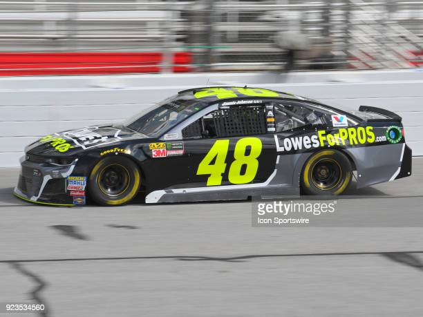 Jimmie Johnson Hendrick Motorsports Lowe's for Pros Chevrolet Camaro during practice for the Monster Energy Cup Series Folds of Honor Quiktrip 500 on...