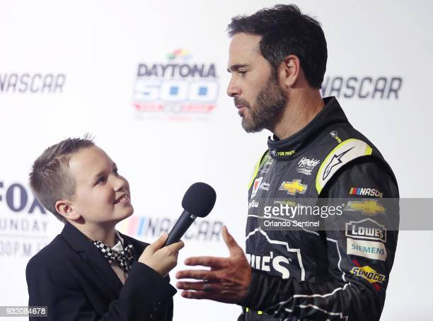 Jimmie Johnson is interviewed during Daytona 500 Media Day at Daytona International Speedway on February 14 in Daytona Beach Fla