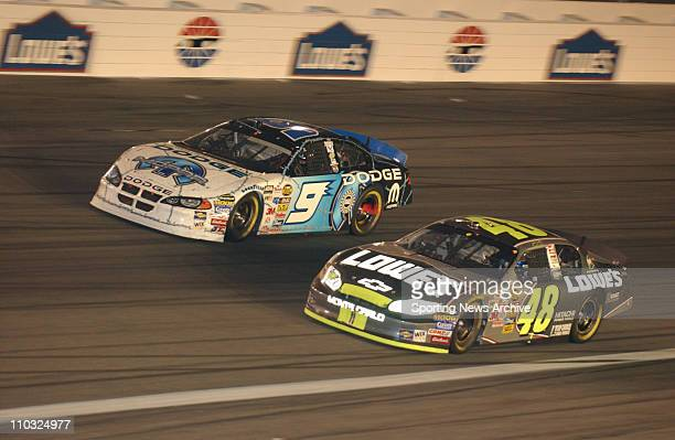 NASCAR Jimmie Johnson Kasey Kahne during the Nextel cup UAWGM Quality 500 at Lowe's Motor Speedway in Concord NC on Oct 16 2004