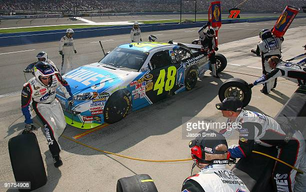 Jimmie Johnson pits the Jimmie Johnson Foundation/Lowe's Chevrolet during the NASCAR Sprint Cup Series Pepsi 500 at Auto Club Speedway on October 11...