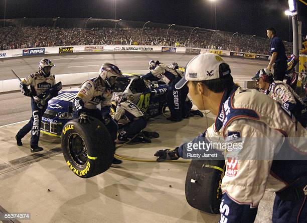 Jimmie Johnson pits the Lowes Chevrolet during the NASCAR Nextel Cup Series Chevy Rock Roll 400 on September 10 2005 at the Richmond International...