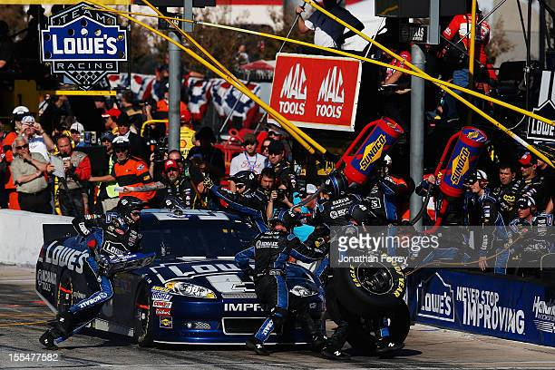 Jimmie Johnson pits the Lowe's Chevrolet during the NASCAR Sprint Cup Series AAA Texas 500 at Texas Motor Speedway on November 4 2012 in Fort Worth...