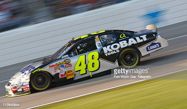 Jimmie Johnson races during the NASCAR Nextel Cup series Dickies 500 race at Texas Motor Speedway in Fort Worth Texas Sunday November 4 2007