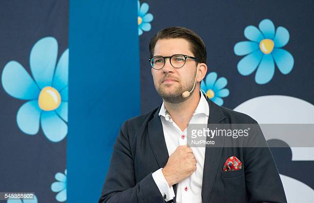 Jimmie Åkesson leader of the ultra nationalist Sweden Democrats currently the third largest party in Swedish parliament holds a speech at Almedalen...