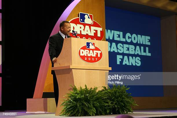 Jimmie Lee Solomon, Executive Vice President, Baseball Operations speaks at the podium during the 2007 First-year player draft at The Milk House in...