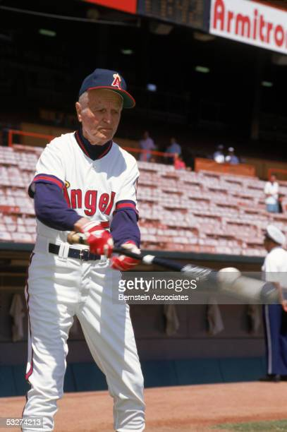 Jimmie Reese of the California Angels makes a hit before a game at Anaheim Stadium on August1991 in Anaheim California Jimmie Reese was a California...