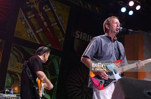 Jimmie Vaughan and Eric Clapton during Crossroads Guitar Festival Day Two All Star Blues Jam Hosted by Eric Clapton at Fair Park in Dallas Texas...