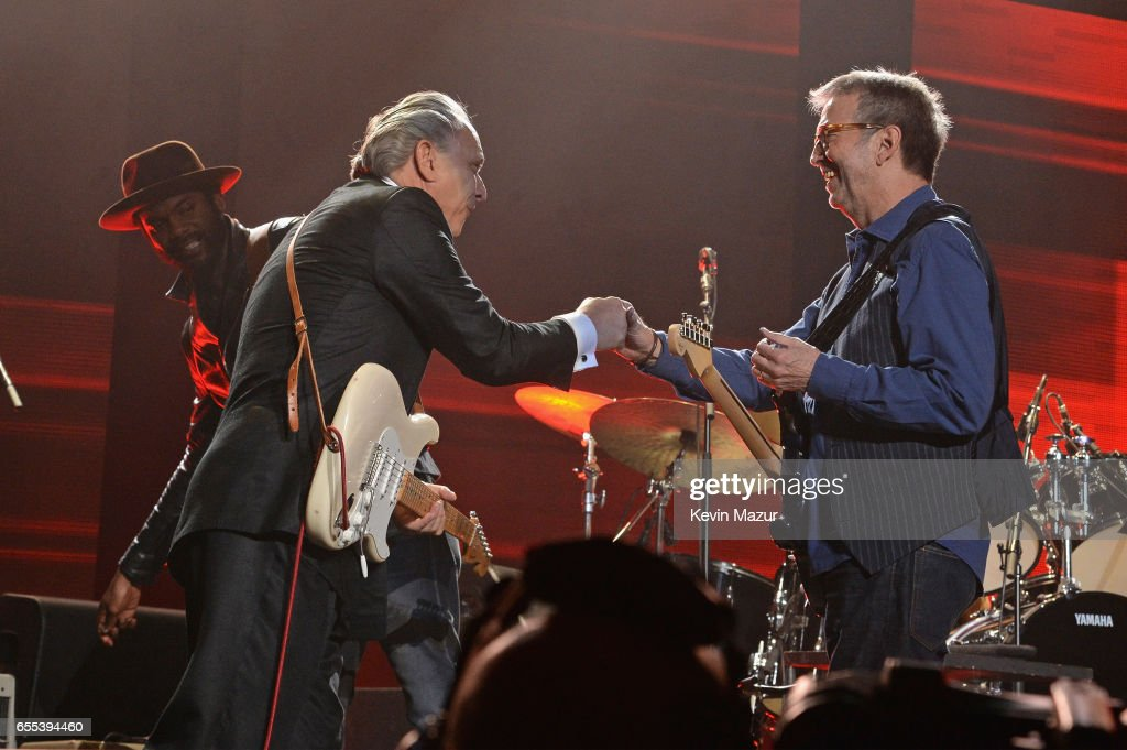 Jimmie Vaughan and Gary Clark Jr. perform onstage with Eric Clapton & His Band at Madison Square Garden on March 19, 2017 in New York City.