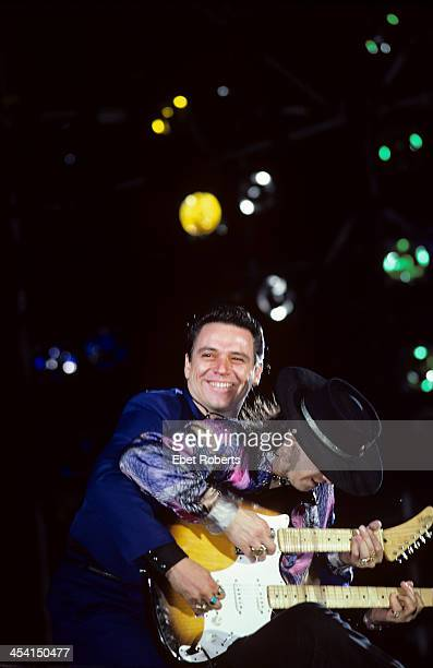 Jimmie Vaughan and Stevie Ray Vaughan performing at the Pier in New York City on June 26 1986