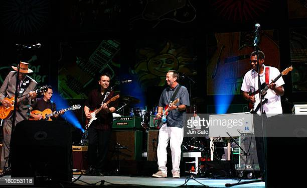 Jimmie Vaughan Eric Clapton and Robert Cray during Crossroads Guitar Festival Day Two All Star Blues Jam Hosted by Eric Clapton at Fair Park in...