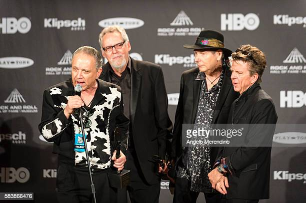 Jimmie Vaughn , Rreese Wynans , Tommy Shannon , and Chris Layton talk with reporters at the 30th Annual Rock 'n Roll Hall of Fame Induction Ceremony...