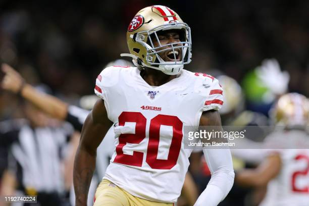 Jimmie Ward of the San Francisco 49ers celebrates a recovered fumble against the New Orleans Saints during the second half of a game at the Mercedes...
