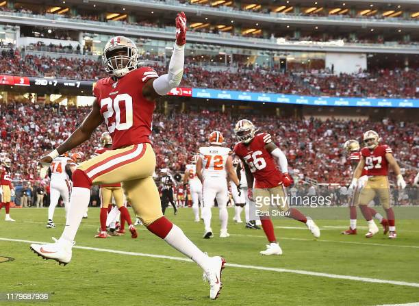 Jimmie Ward of the San Francisco 49ers celebrates a tackle in the second quarter over the Cleveland Browns during the game at Levi's Stadium on...
