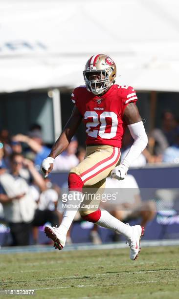 Jimmie Ward of the San Francisco 49ers celebrates after breaking up a pass during the game against the Los Angeles Rams at the Los Angeles Memorial...