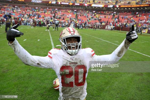 Jimmie Ward of the San Francisco 49ers celebrates after the 49ers defeated the Washington Redskins 9-0 at FedExField on October 20, 2019 in Landover,...