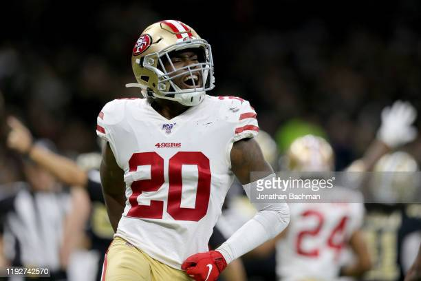 Jimmie Ward of the San Francisco 49ers celebrates defensive stop against the New Orleans Saints in the game at Mercedes Benz Superdome on December...