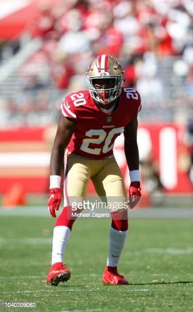 Jimmie Ward of the San Francisco 49ers defends during the game against the Detroit Lions at Levi Stadium on September 16, 2018 in Santa Clara,...