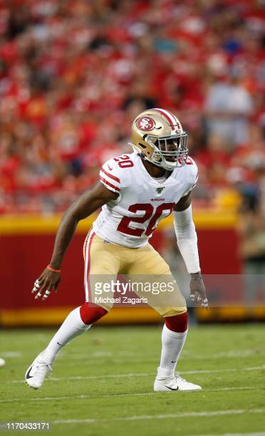 Jimmie Ward of the San Francisco 49ers defends during the game against the Kansas City Chiefs at Arrowhead Stadium on August 24, 2019 in Kansas City,...
