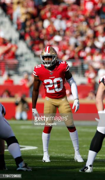 Jimmie Ward of the San Francisco 49ers defends during the game against the Atlanta Falcons at Levi's Stadium on December 15, 2019 in Santa Clara,...